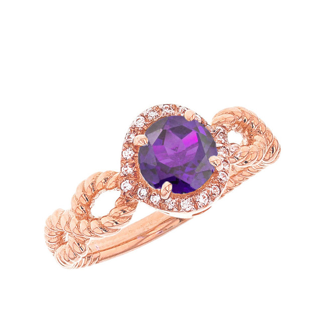 Rose Gold Infinity Rope Diamond Genuine Amethyst Engagement Ring