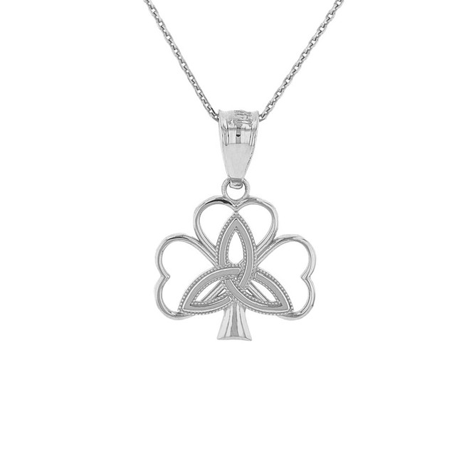 Solid White Gold Triquetra Irish Celtic Clover Pendant Necklace
