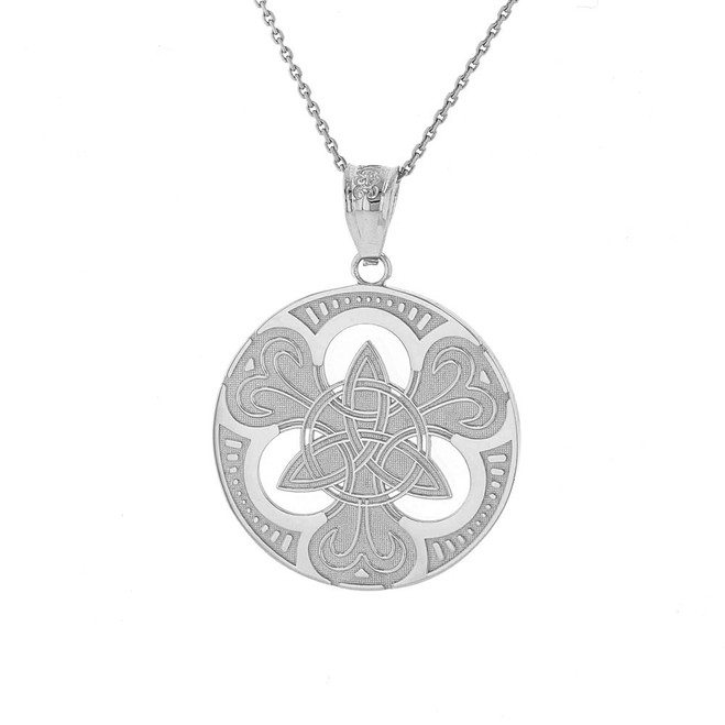 Solid White Gold Triquetra Circle Trinity Knot Irish Pendant Necklace