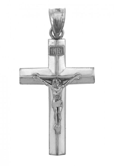 White Gold Line Crucifix Pendant