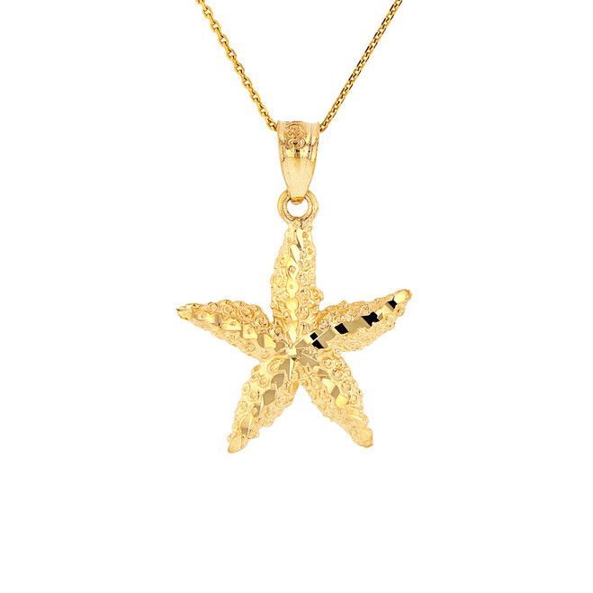 Solid Yellow Gold Diamond Cut Starfish Sea Star Pendant Necklace