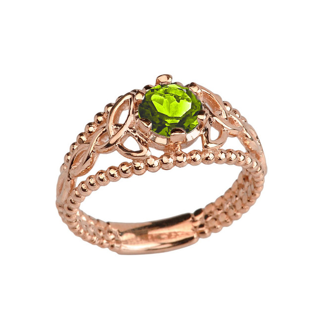 Rose Gold Lab Created Peridot Beaded Celtic Trinity Knot Engagement/Promise Ring