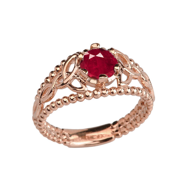 Rose Gold Lab Created Ruby Beaded Celtic Trinity Knot Engagement/Promise Ring