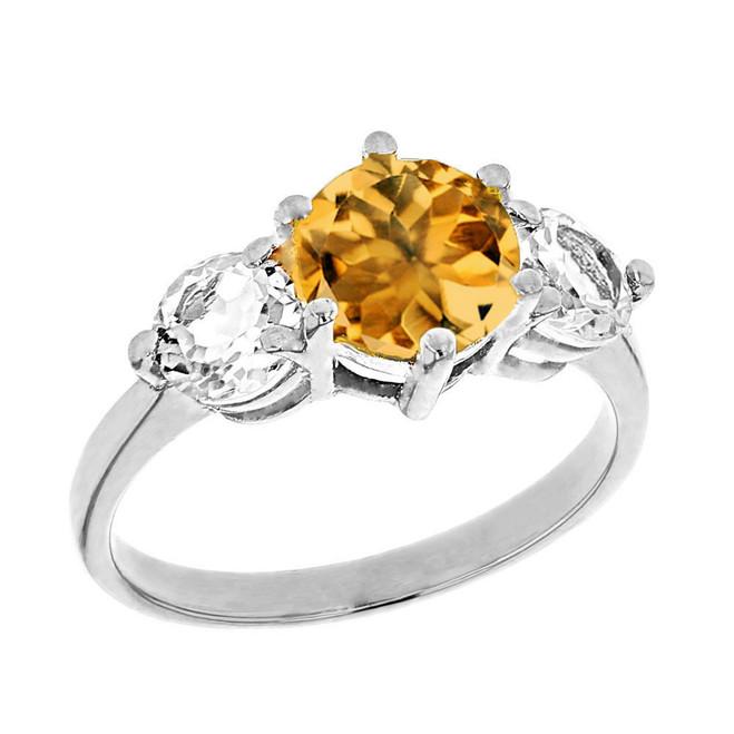 White Gold Genuine Citrine and White Topaz Engagement/Promise Ring
