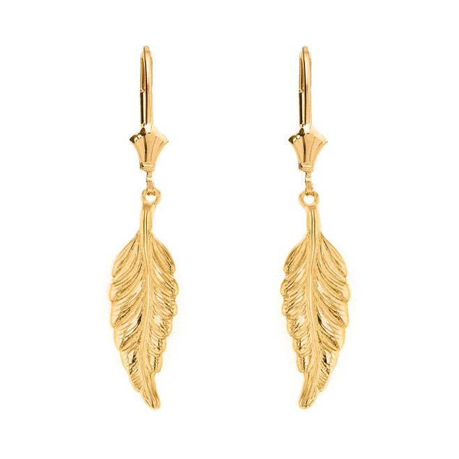 14K  Solid Yellow Gold Bohemia Boho Feather Drop Earring Set