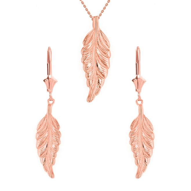 14K Solid Rose Gold Bohemia Boho Feather Pendant Earring Set