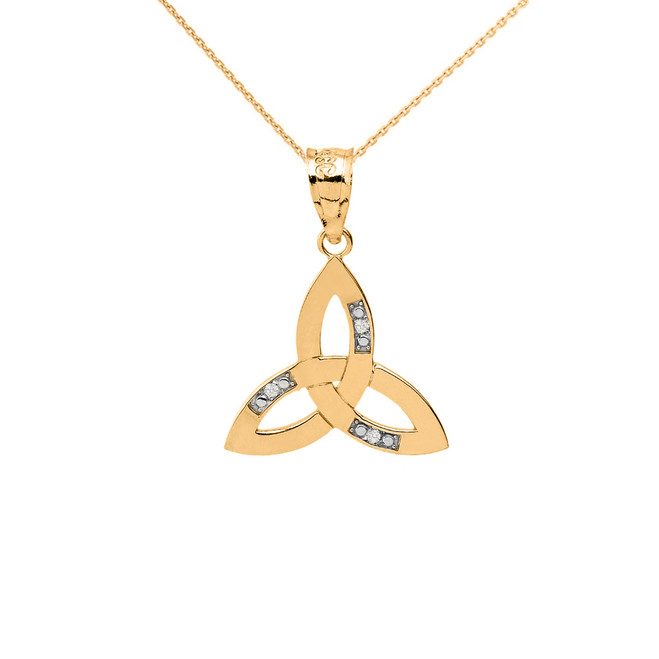 Solid Yellow Gold Diamond Celtic Trinity Knot Pendant Necklace