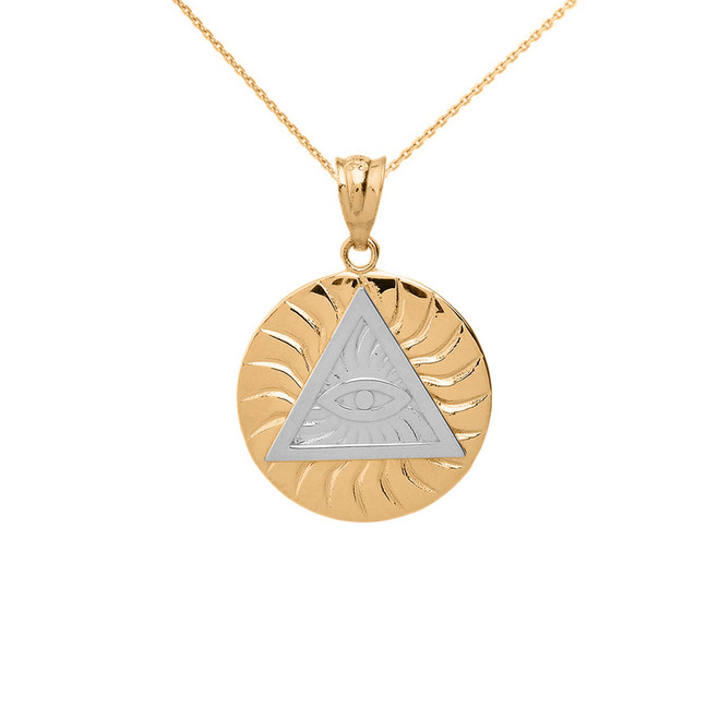 Two Tone Solid Yellow Gold Illuminati All Seeing Eye of Providence Circle Pendant Necklace