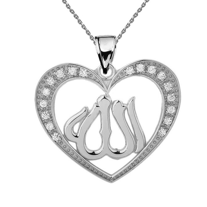 White Gold Cubic Zirconia Heart with Allah Pendant Necklace