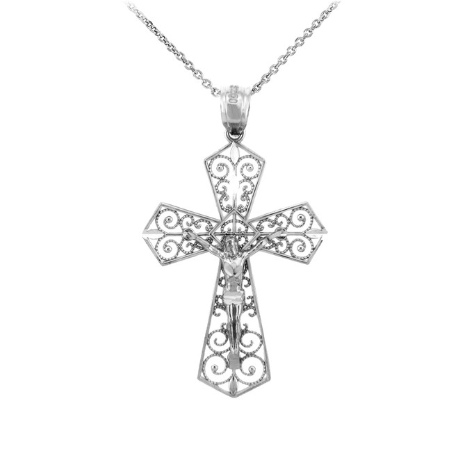 Sterling Silver Crucifix Pendant Necklace- The Beloved Crucifix