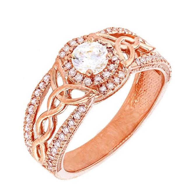 Rose Gold Diamond Ring with Lab Created Diamond Center Stone