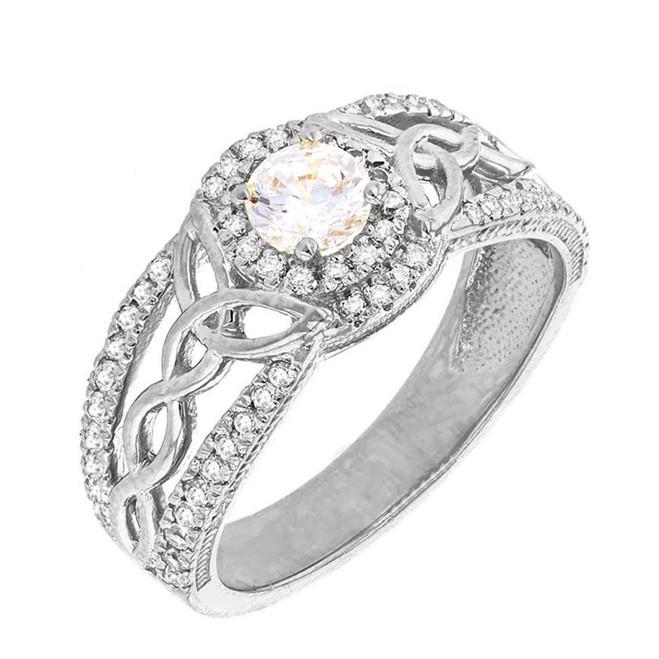 White Gold Diamond Ring with Lab Created Diamond Center Stone