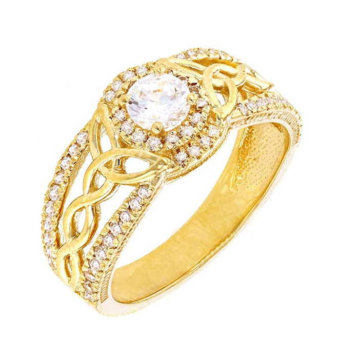 Yellow Gold Cubic Zirconia Ring with Lab Created Cubic Zirconia Center Stone