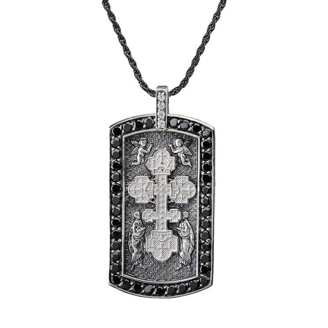 Armenian Cross (Khachkar) with Black Cubic Zirconia Dog Tag Pendant