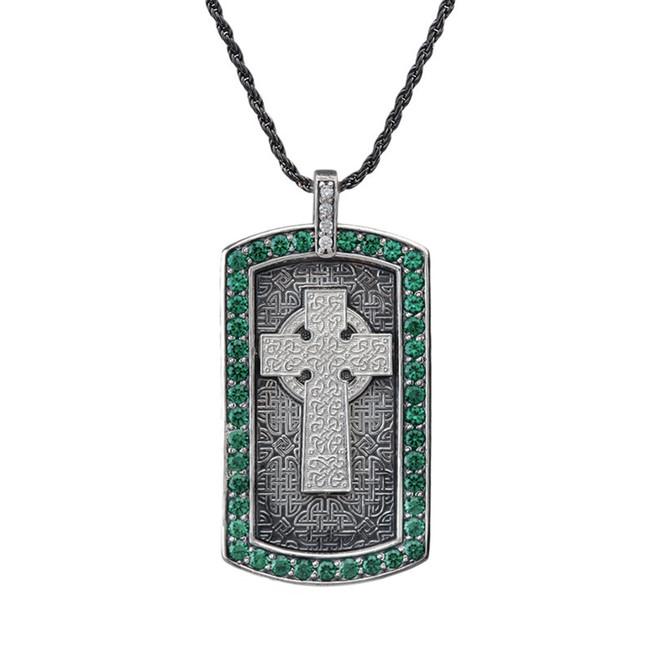 Armenian Cross (Khachkar) with Green Cubic Zirconia Dog Tag Pendant