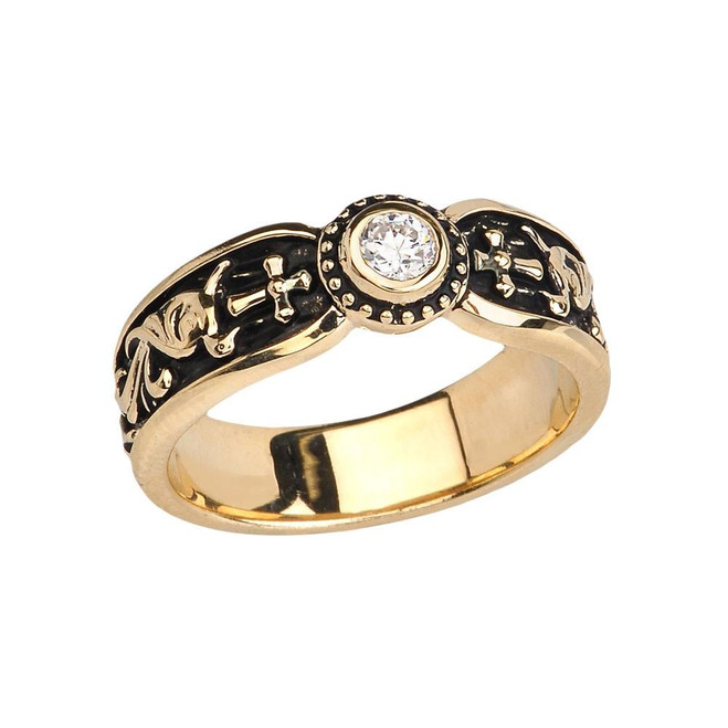 Yellow Gold Side Way Cross Vintage Solitaire Wedding Band/Ring