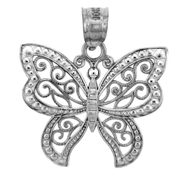 White Gold Charms - The White Gold Butterfly