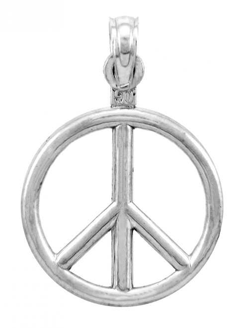 14K White Gold Peace Charm Pendant
