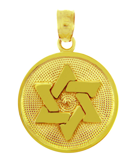 Jewish Charms and Pendants - The Magen David with Disc 14K Gold Charm