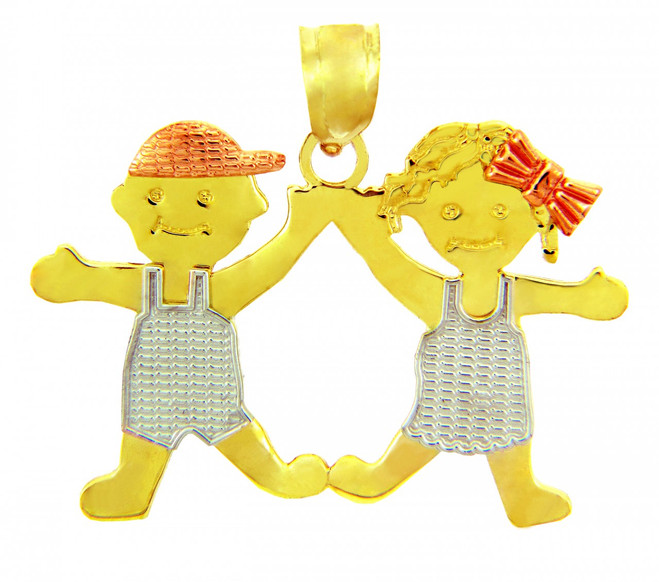 Yellow GoldBoy and Girl Tri Tone Charm