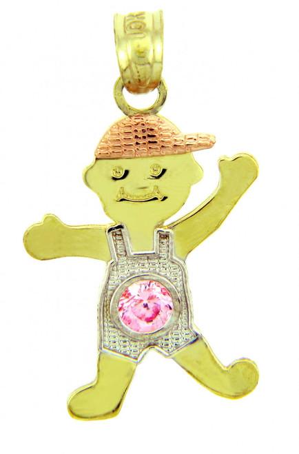 Tri Tone Gold Boy Birthstone Charm