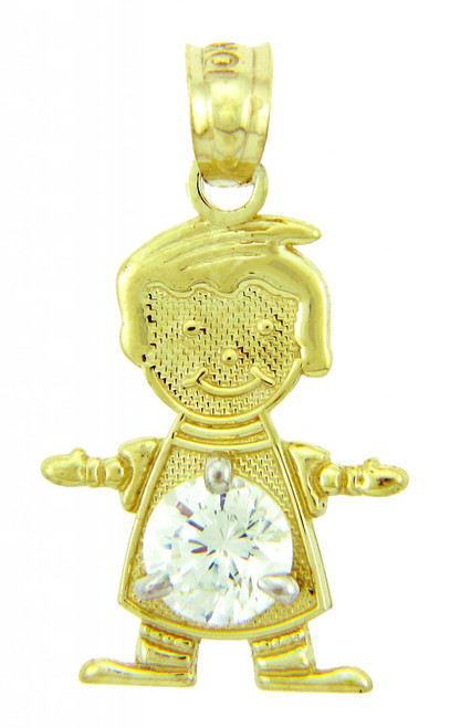 CZ Crystal Stone Yellow Gold Birthstone Charm