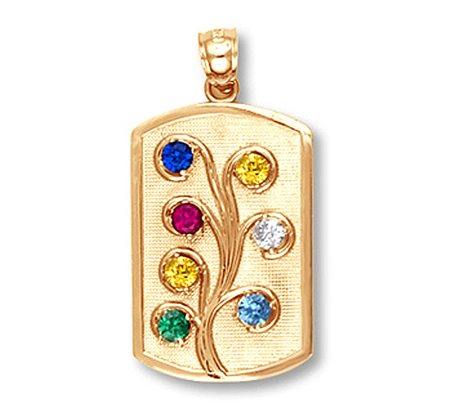Gold Family Tree Birthstone CZ Pendant