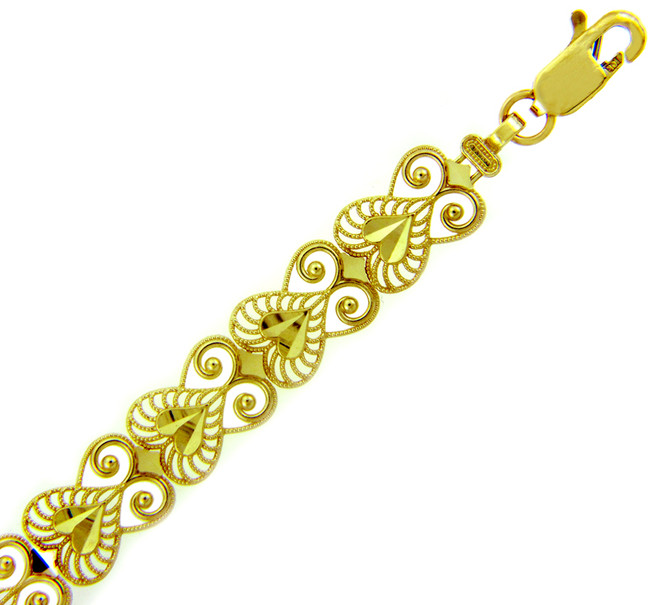 Yellow Gold Bracelet - The Fancy Heart Bracelet