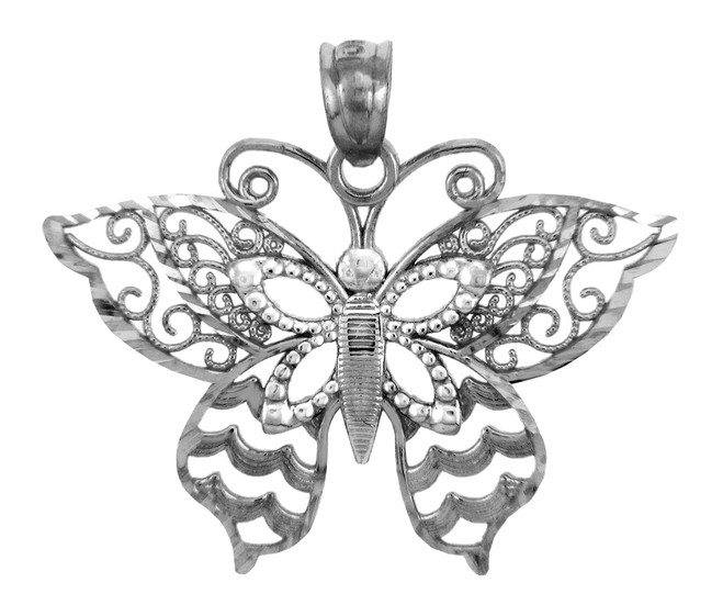 White Gold Charms - The Breathtaking Wings Butterfly