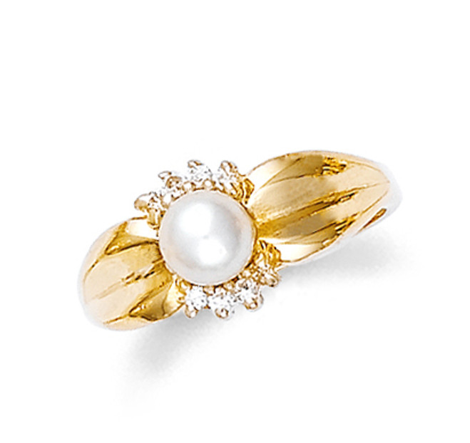 Diamond Pearl Ring