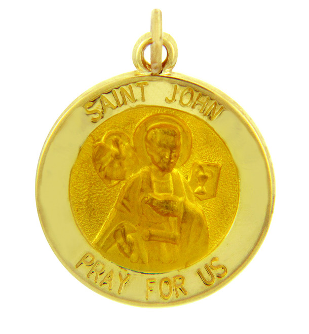 14K Gold Religious Pendants - The Saint John Pray For Us Yellow Gold Pendant