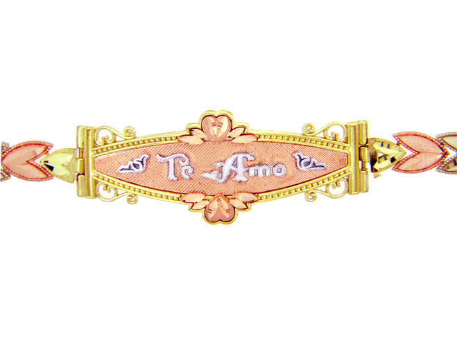 Tri-Color Gold Bracelet - The Te Amo Diamond Cut Bracelet