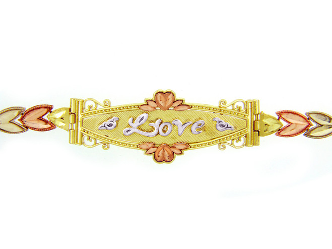 Tri-Color Gold Bracelet - The Lots of Love Diamond Cut Bracelet