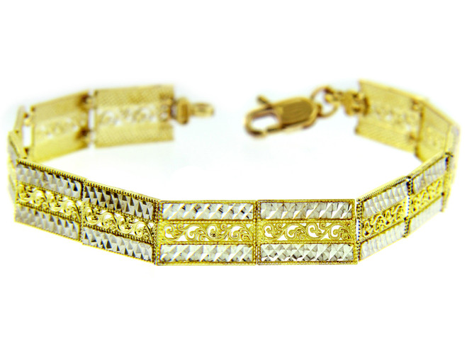 Two-Tone Gold Bracelet - The Fancy Link Bracelet