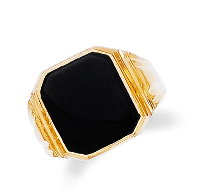 Mens Onyx Gold Ring