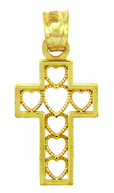 Gold Pendants - The Cross of Hearts Gold Pendant