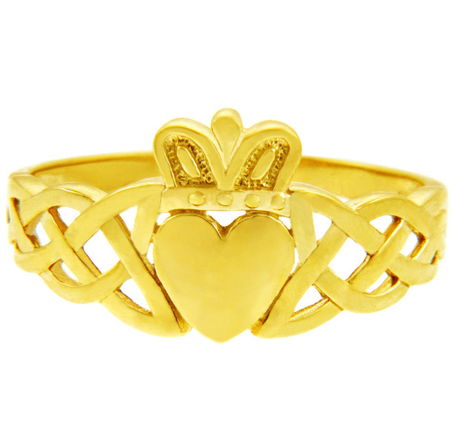 Gold Claddagh Rings - The Variation Yellow Gold Claddagh Ring with Trinity Band