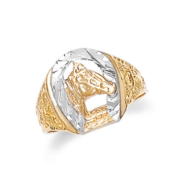 Gold Mens Horseshoe Ring