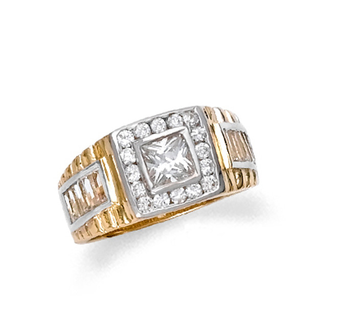 Men's gold ring studded with cubic zirconia.