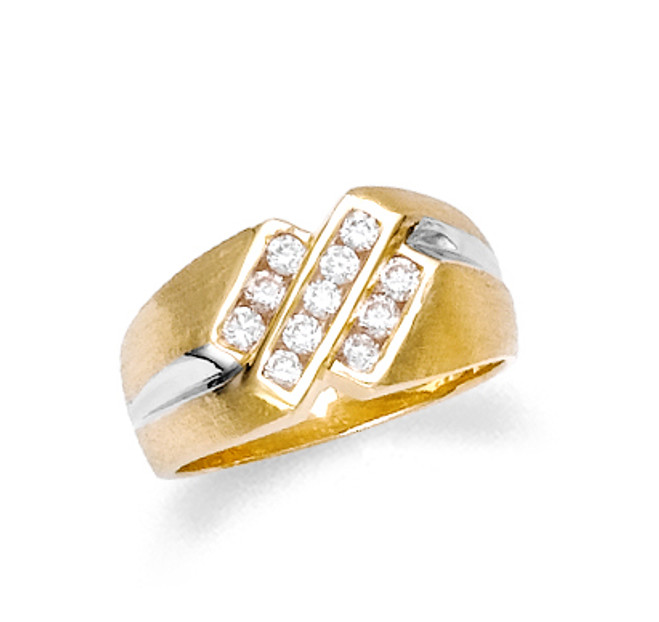 Men's gold cubic zirconia ring in 10k or 14k gold.