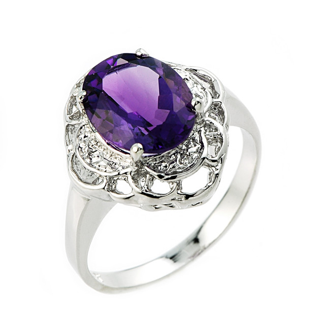 Gold Ring with Amethyst and Diamond