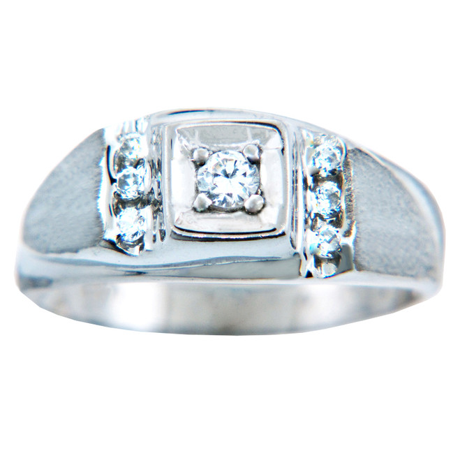 Diamond Center White Gold Men's Ring