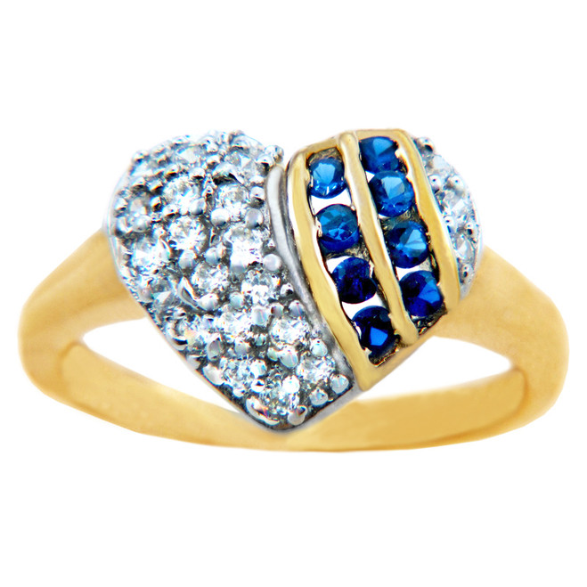 Valentines Special - Ladies Gold Heart Ring with CZ Stones