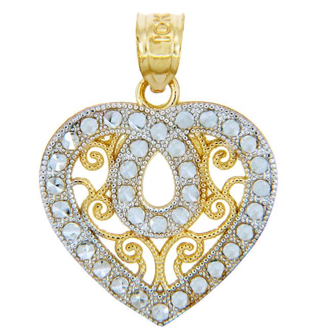 Gold Pendants - Two Tone Gold Fancy Heart Pendant