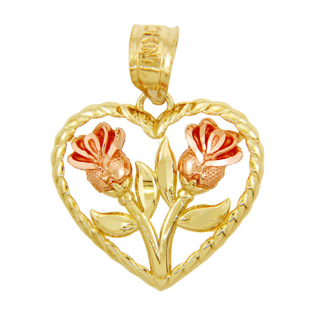 Gold Pendants - Two Tone Gold Flowers in Heart Pendant