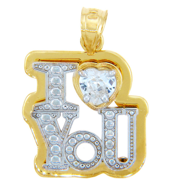 "Gold Pendants - Two Tone Gold Bold ""I Heart You"" Pendant"