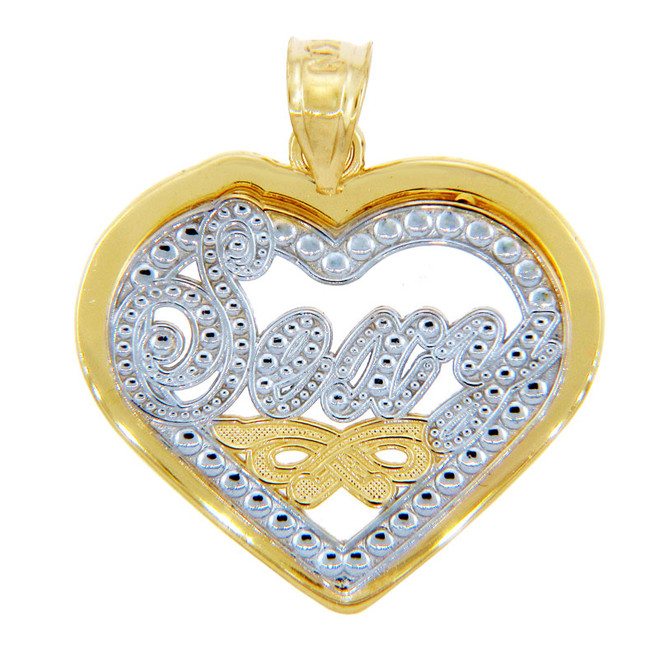 Gold Pendants - Two Tone Gold Sexy Heart Pendant