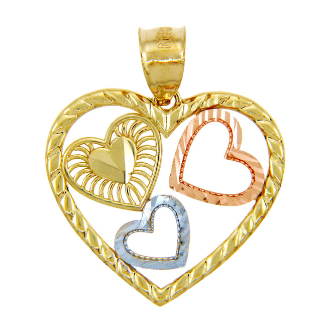 Gold Pendants - Gold Three Hearts Pendant in Three Tones