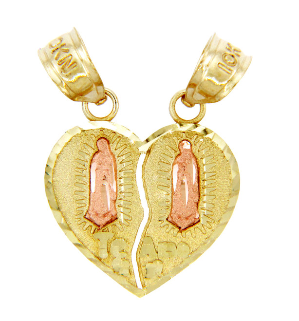Gold Pendants - Two Tone Guadalupe Te Amo Breakable Gold Heart Pendant II