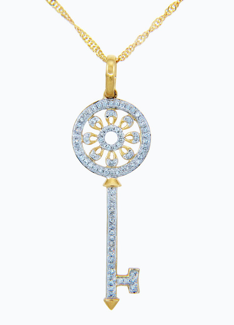 Valentines Special Heart Diamonds - Gold Key and Sun Pendant with Diamonds (w Chain)